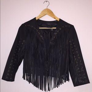 H&M Black Vegan Leather Fringe Jacket